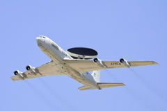 E3 Awacs plane flying above air force base. E3 Awacs plane flying in sky Stock Photography