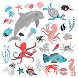 E bańka kopii ryby morskie życie ilustracyjnego wodorosty są rozmieszczone tekstu wektora r royalty ilustracja