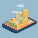 E-banco móvel com conceito da moeda Imagem de Stock