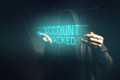 E-bank account hacked, unrecognizable computer hacker stealing p Stock Photos