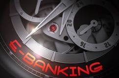 E-Banking on Automatic Men Wrist Watch Mechanism. 3D. Stock Photography