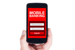 E-Banking. Concept using smartphone or cellphone Royalty Free Stock Image
