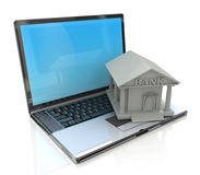 E-banking, e banking, laptop with bank 3d icon Royalty Free Stock Photos