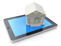 E-banking, e banking, tablet computer PC with bank 3d icon Stock Photos