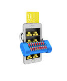 E-banking. Gold brick in the smartphone protected. 3d illustrati Stock Photography