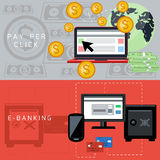 E-banking and pay per click cards Royalty Free Stock Photography