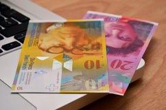 E-bankrörelsen - online-shopping/Schweizer Franken Arkivfoto