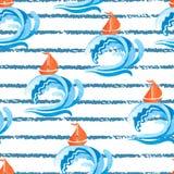 E Bateaux et vagues illustration de vecteur