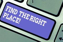 E Bedrijfsconcept voor het Zoeken naar de ideale plaats om iets te doen Toetsenbord royalty-vrije stock afbeeldingen