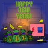 E Begrepp som betyder glad Xmas för lyckönskan alla börja av Januari royaltyfri illustrationer