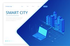 E Begreppswebsitemall Den smarta staden med smart service och symboler, internet av saker, knyter kontakt vektor illustrationer