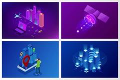E Begreppswebsitemall Den smarta staden med smart service och symboler, internet av saker, knyter kontakt royaltyfri illustrationer