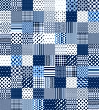E bianca modello senza cuciture geometrico imbottito rappezzatura blu, insieme di vettore Fotografia Stock Libera da Diritti