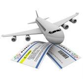 E-Biglietti ed aeroplano Fotografie Stock Libere da Diritti