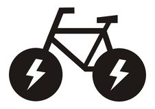 E bike, black silhouette of bicycle, vector icon stock image