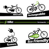 E bike icon set. Collection of electric bike template stock illustration