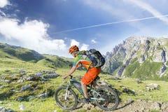 E Bike Rider Mountain Trail Stock Image