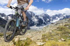 E bike rider mountain trail Royalty Free Stock Images