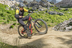 E Bike Rider Uphill Trail Royalty Free Stock Photography