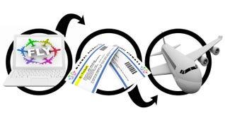 E-Billets de commande de vol sur l'Internet - tableau illustration stock