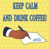 E Biznesowy poj?cie dla zach?ca demonstrowa? cieszy? si? kofeina nap?j i royalty ilustracja