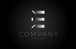 E black white silver letter logo design icon alphabet 3d Stock Photography