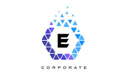 E Blue Hexagon Letter Logo with Triangles. E Blue Hexagon Letter Logo Design with Blue Mosaic Triangles Pattern royalty free illustration