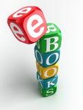 E-boeken 3d kleurrijke kubustoren Stock Afbeeldingen