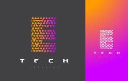 E-bokstav Logo Technology FörbindelseDots Letter Design Vector Arkivfoton