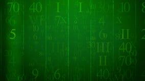 E-bokstav med rader av arabiska och latinska siffror Arkivbild