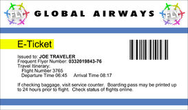E-Boleto de la línea aérea Foto de archivo libre de regalías