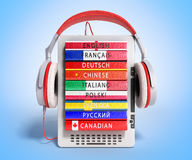 E-boock audio learning languages 3d render on gradient Royalty Free Stock Photos