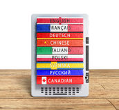 E-boock audio learning languages 3d render on wood flor Royalty Free Stock Image