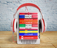 E-boock audio learning languages 3d render on wooden flor and br Stock Images