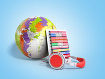 E-boock whith globe audio learning languages 3d render on blue Stock Photography