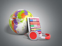 E-boock whith globe audio learning languages 3d render on grey Royalty Free Stock Image