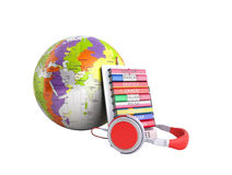 E-boock whith globe audio learning languages 3d render no shadow Stock Photography