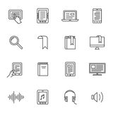 E-book and audio books icons Stock Photos