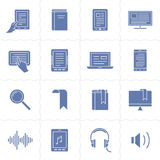 E-book and audio books icons Stock Images