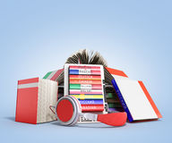E-book audio learning languages and Books 3d render on blue grad. Ient Stock Photo
