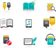 E-book, audiobook and literature icons - 1. Collection of E-book, audiobook and literature icons Royalty Free Stock Images