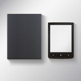 E-book with blank black book. Royalty Free Stock Photo