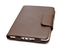 E-book in brown leather Royalty Free Stock Photo