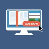 E-book buying concept. Flat design. Royalty Free Stock Photos