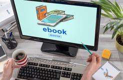 E-book concept on a computer. Screen Stock Images