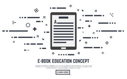 E-book concept. E-book learning poster concept. Electronic book with text lines and abstract dots. Placard or banner. Flat line style vector illustration Royalty Free Stock Images