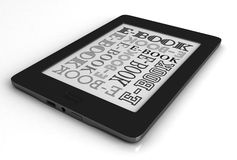 E-Book. 3d render of reader electronic book over white background Royalty Free Stock Photos