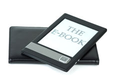 E-book device and cover. Isolated on the white background Royalty Free Stock Images