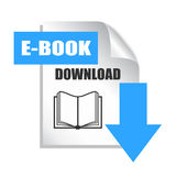 E-book download icon. Isolated on white royalty free illustration