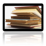 E-book E-reader with books on screen Stock Photos